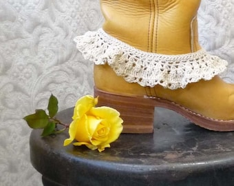 Petticoat Boot Ruffle - Crocheted - Vintage Cotton - Ready to Ship