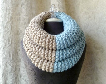 El Grande Cowl - Chunky Knit Cowl - Oversized - Icy Blue and Linen