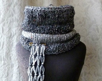 Horse's Mane Cowl - Black and Charcoal Grey - Ready to Ship