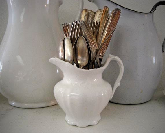 Pitcher Plus 35 Pieces Vintage Silver Flatware and Antique K.T.&K Knowles Taylor Knowles Warranted Granite Ironstone White Pitcher