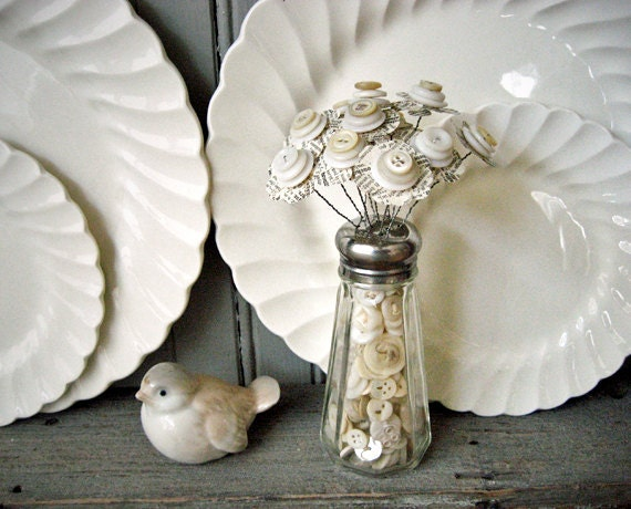 Button Bouquet in Button Filled Salt Shaker Shabby White Wedding Favor Decor