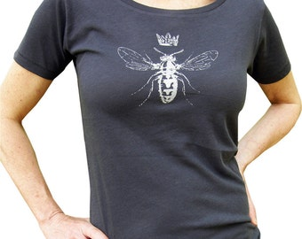 Queen Bee Women's Graphic Tee Shirt-Organic Cotton Hand Screen Printed, Vneck,Gift for Women-Charcoal/White Ink