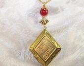 Vintage Locket and Jade Necklace