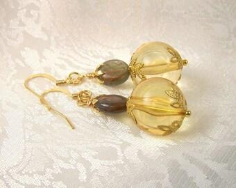 Labradorite and Light Topaz Earrings