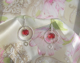 Faceted Round Red and Hearts Earrings