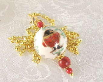 Luck and Success Porcelain  Pendant Lavalier Necklace