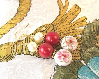 Cloisonne and Glass Pearls Earrings
