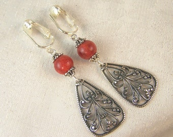 Red Coral and Filigree Earrings