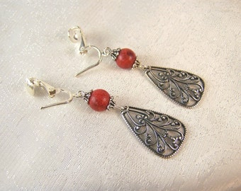 Red Coral and Filigree Clip on Earrings