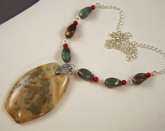 Crazy Lace Agate and Coral Necklace