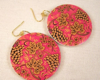 Painted Wood Disc Earrings