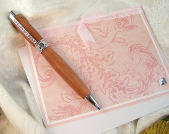 Bolivian Rosewood and Pink  Crystals Pen