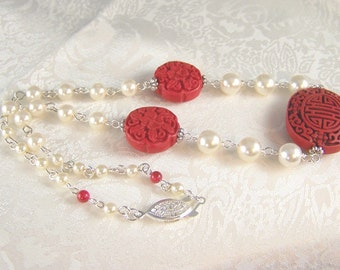 Pearls and Cinnabar Necklace
