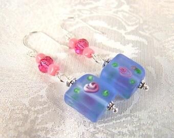 Pink Roses on Blue Earrings