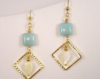 Amazonite Squares Earrings