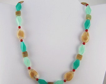 Milk Glass and Coral Necklace
