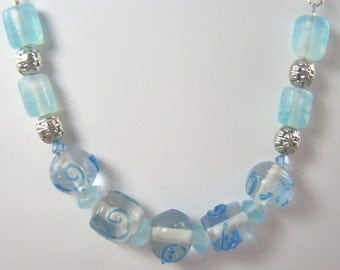 Silver and Blue Necklace