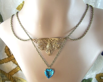 Filigree and Vintage Heart Necklace