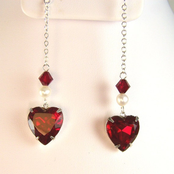 Vintage Glass Heart Earrings