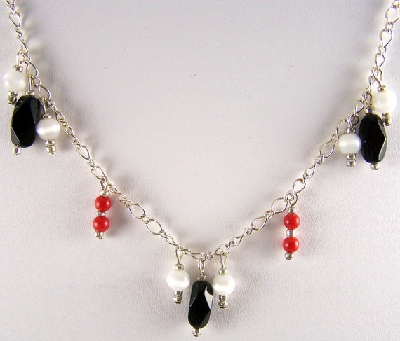Red Coral and Catseye Necklace