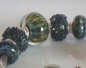 Navy and Green Lampwork bracelet