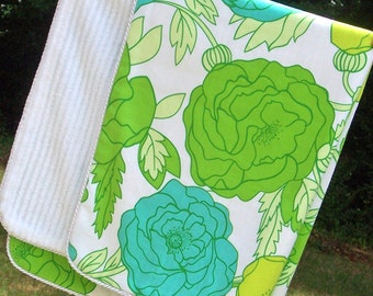 Gender Neutral Baby Blanket with Bold Green Floral and White Chenille
