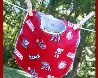 Reversible Bib - Alabama Crimson Tide Bama Red and White Chenille for Etsykids