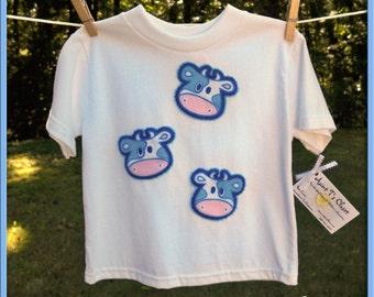 Blue Cow Head T-Shirt - Size 24 month - Etsykids