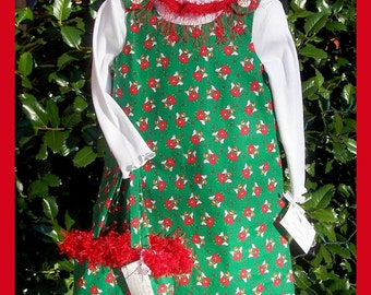 CLEARANCE SALE Green & Red Christmas Angels Jumper, Shirt, Matching Bag - Size 3T
