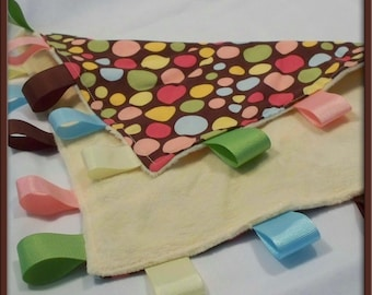 Brown Yellow Polka Dot and Yellow Minkee Chenille Silky/Lovey