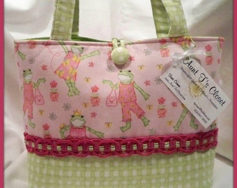 Pink Fashion Frogs with Green Check Medium Diaper Bag / Tote Bag