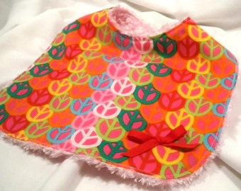 Drool Bib for Girls - Peace Signs with Pink Chenille