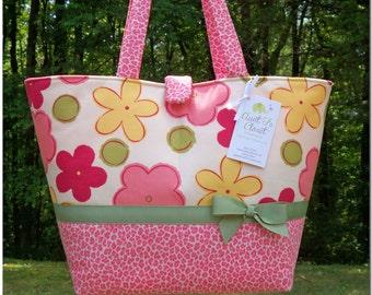 Large Diaper Bag - Rose Pink Floral with Pink Leopard Print