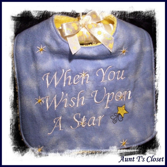When You Wish Upon a Star - Reversible Blue Gold Bib