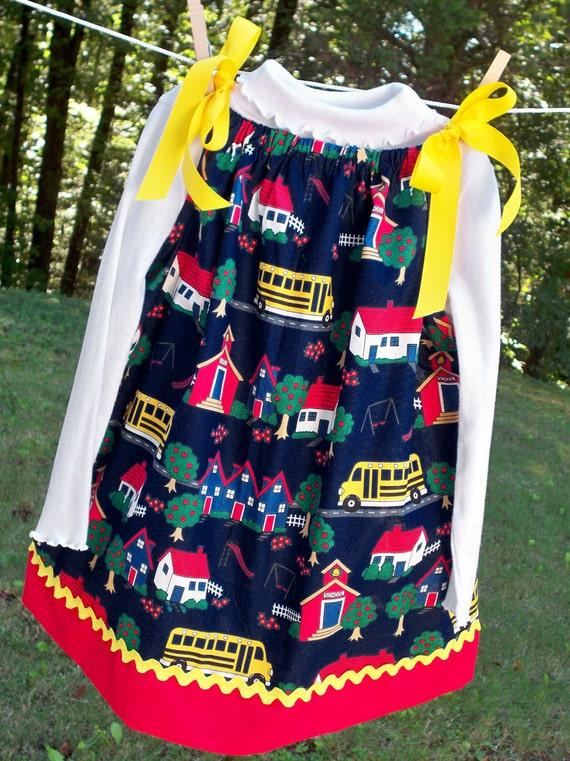 Pillowcase Dress & Shirt - Navy School Theme - 3T (medium) for Etsykids