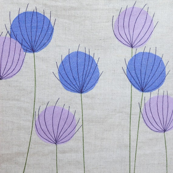 Natural Linen Tote Bag, with lilac thistles