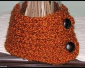 SAFFRON Soft Burnt Orange Scarflette with Buttons