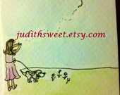 She let go of her heart & beagle ACEO Original artist trading card watercolor painting with Free shipping