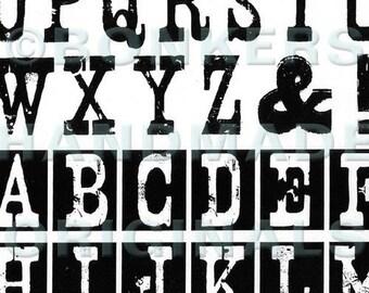 Nashville Twins Alphabet Rubber Stamp Sheet