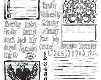 Journaling Rubber Stamp Sheet