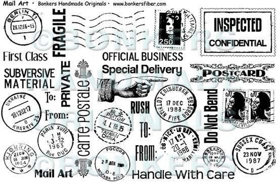 Mail Art Rubber Stamp Sheet