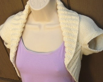 Ivory Knit Shrug-Small  offwhite ivory bolero shrug vest sweater prom wedding bridal evening formal cover-up