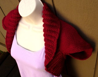 Cranberry Knit Shrug, size:Large  cranberry red bolero shrug knitted vest sweater wedding bridal evening prom cover-up