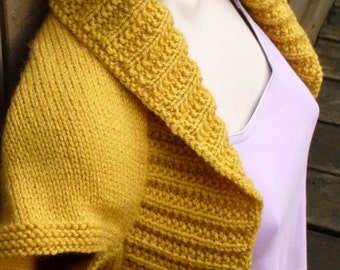 Mustard Yellow Knit Shrug-Large  mustard yellow bolero shrug knitted vest sweater wedding bridal evening prom cover-up