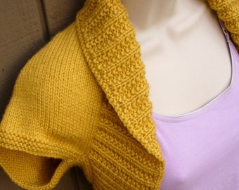 Mustard Yellow Knit Shrug-Small  mustard yellow bolero shrug knitted vest sweater wedding bridal evening prom cover-up
