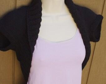 Black Licorice Knit Shrug-Medium  black bolero shrug vest sweater cropped bridal wedding prom evening cover-up formal