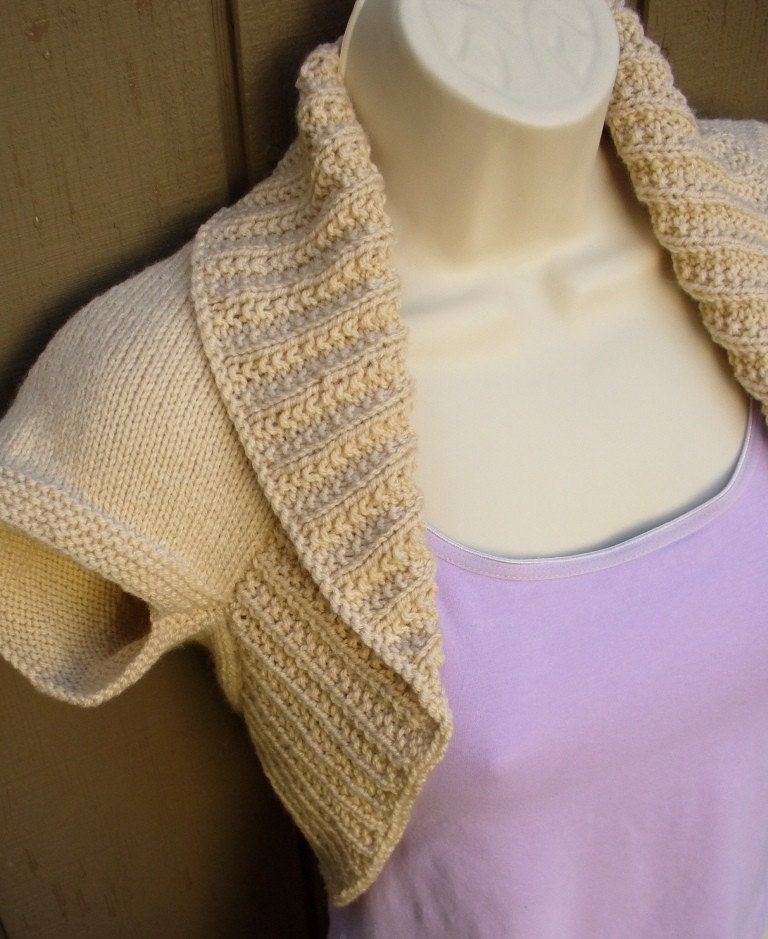 Beige Mocha Väska : Mocha cream knit shrug size medium beige tan brown bolero