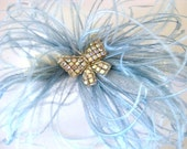 He Gives Me Butterflies by Samantha Sultana - Diamonte Butterfly, Satin Ivory, Blue Ostrich Feather, Bridal Garter, Limited Edition