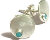 Spot Earrings sterling silver Tiny blue Turquoise cabochons, blue earrings, round studs
