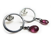 Oxidised Silver Ear Studs with pink tourmaline briolettes gemstones